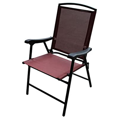 Four Seasons Westfield Outdoor 199492 S13-S998R FS Flood Sling Chair, Red - Provides Easy Care & Maintenance Folding Sling Chair Heavy Duty Black Powder Coated Steel Frame - patio-furniture, patio-chairs, patio - 41EuJJVl1jL. SS400  -