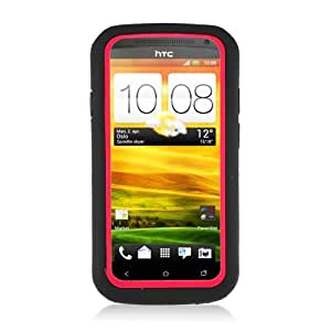 HTC One S Case - Nabster Double Layer 2 in 1 Impact Resistant Hybrid Case with Built-in Kickstand for HTC One S/Ville/ PJ40110/Z520e/Z560e (Simple Mobile, T-Mobile) (BLACK/RED)