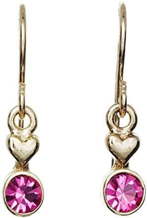 Gold Pink Crystal Drop Fish Hook Earring
