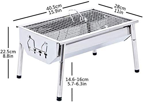 41EuJaBBSwL. AC  - ISUMER Charcoal Grill Barbecue Portable BBQ - Stainless Steel Folding BBQ Kabab Grill Camping Grill Tabletop Grill Hibachi Grill for Shish Kabob Portable Camping Cooking Small Grill