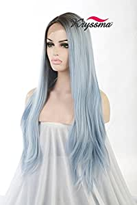 K'ryssma Fashion Long Straight Lace Front Wigs For Women Dark Root Ombre Blue Synthetic Wig For Party 24 Inches