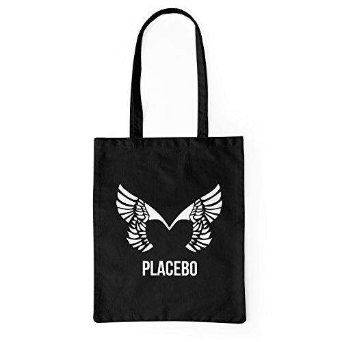 "Bolsa de tela ""Placebo"" - tote bag shopping bag 100% algodón LaMAGLIERIA, Negro"
