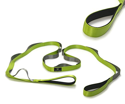 Gradient Fitness Stretching Strap LITE, 1 Inch Strap Width, Neoprene Padded Handles (Green)