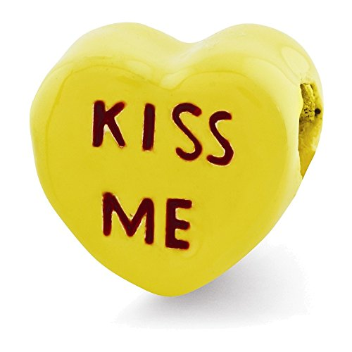 Sterling Silver Reflections Kids Kiss Me Enameled Heart Bead - Heart Kiss Italian Charm