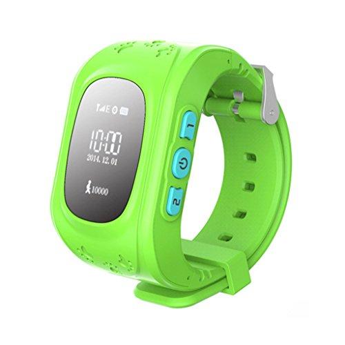 Q50 Smartwatches Reloj Infantil Pulsera Inteligente GPS / LBS Localizador Alarma para Seguridad de Niños - Verde: Amazon.es: Juguetes y juegos