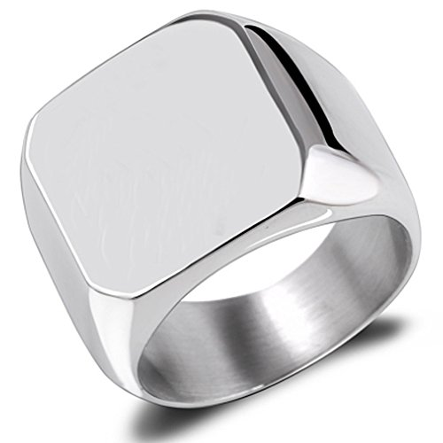 Van Unico Stainless Steel Signet Ring for Men Polished Pinky Ring Size 4-15 (Stainless-Steel-Silver, Size 4)