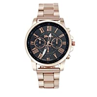 Hot Sale ! ღ Ninasill ღ Roman Number Geneva Stainless Steel Quartz Sports Dial Wrist Watch