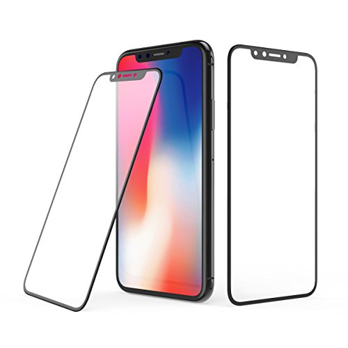 IPhone X Screen Protector 2 PACK 4D Curved Soft Edge Full Coverage 9H Tempered Glass Full Coverage Film HD Clear Cover Screen Protector for Apple iPhone X/10 (Black+ (Full Curved)