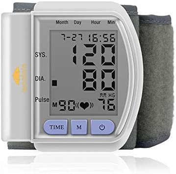 Woolala Automatic Wrist Blood Pressure Monitor Cuff, Ultra Portable Easy-to-use, Accurate Readings with Large LCD Screen Perfect for Health Monitoring, 5 – 8 Cuff Size
