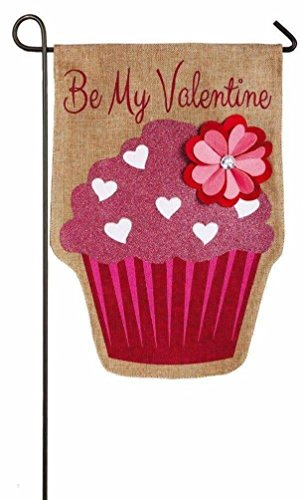 Happy Valentines Day Applique Flags (Happy Valentine's Day Garden Flag - Be My Valentine Burlap Yard Flag with Glitter Cupcake and Flower Applique Design - Measures 11