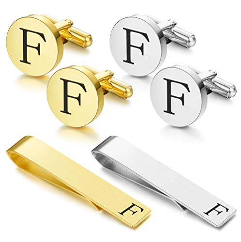 FUNRUN JEWELRY Stainless Steel Tie Clip and Cufflink Set for Men Button Shirt Personalized Initials Alphabet A-Z Gift (Steel Stainless Anniversary Cufflinks)