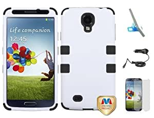 Premium New Samsung Galaxy S4 Armor Hybrid Two Layer Phone Protector Cover Case With Phone Stand, Car Charger And Screen Protector (White)