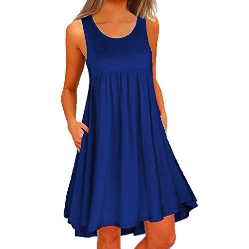 (OTTATAT Sleeveless Women Dress, Summer Party Dress Dress Tank Top Prints Big Size Chic Dress Shirt Floral Mini Dress Fold Fashion Casual Beach 2019 New Dress Dress Short Sleeves for Women )