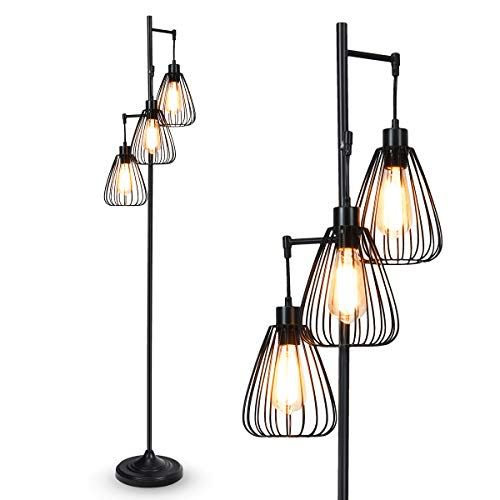 Tangkula 3 Lights Industrial Floor Lamp, Rustic 3-Head Tall Lamp, 67Inch Metal Standing Lamp, Tree Lamp with 3 Hanging Lampshade, Cage Floor Lighting for Farmhouse Living Room Kitchen Bedroom (Black)