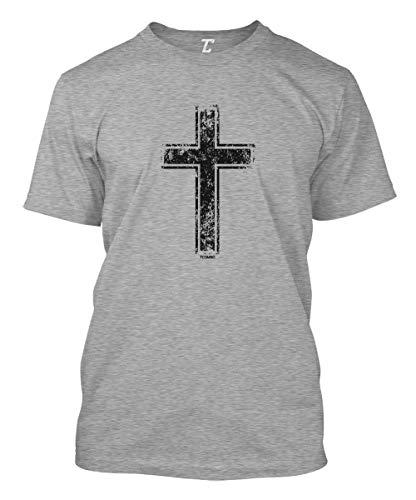 (Black Distressed Cross - Catholic Christian Men's T-Shirt (Light Gray, XX-Large))