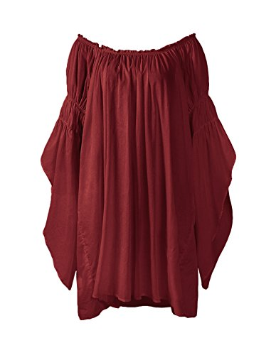 ReminisceBoutique Renaissance Medieval Peasant Dress up Pirate Faire Celtic Blouse (Small, Burgundy)]()