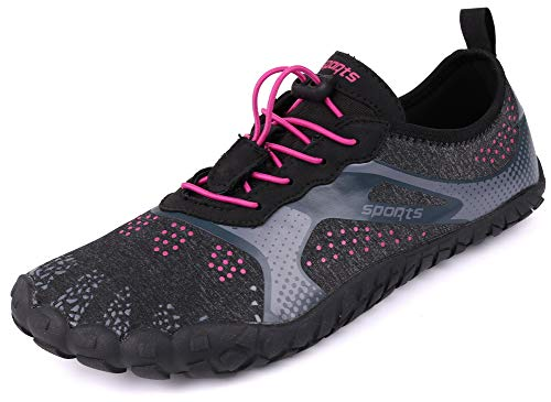 JOOMRA Women Water Shoes Hiking Barefoot 5 Fingers Quick Dry Gym Wide Ladies Fishing Fitness Sports Camp Aqua Shoes Red 10.5 M ()