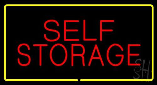 Self Storage Rectangle Yellow Outdoor Neon Sign 20'' Tall x 37'' Wide x 3.5'' Deep by The Sign Store