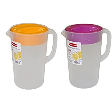 Rubbermaid 1 Gallon Classic Pitcher, Value Pack Of 2 Colors, (Purple Lid-Orange Lid)