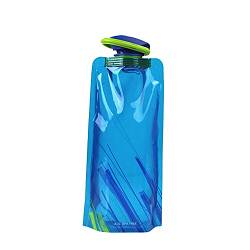 Coohole Portable Foldable Drinking Water Bottle Bag Pouch Outdoor Sport Hiking Cycling Camping Fishing Water Bag (Blue) (18+ Halloween Parties Dc)