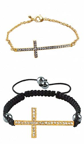 Hematite Rhinestone Cross - rockcloud Adjustable Shiny Rhinestones Hematite Bracelet Sideways Cross Braided Handmade Wristband Pack of 2