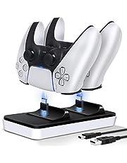 XIMU PS5 handkontrollladdare, laddningsstation med dubbla avtagbara USB C-portar, laddningsstativ docka kompatibel med PlayStation 5 Dualsense