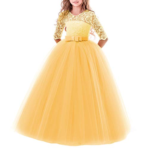 Toddler Girl's Embroidery Tulle Lace Maxi Flower Girl Wedding Bridesmaid Dress 3/4 Sleeve Long A Line Pageant Formal Prom Dance Evening Gowns Casual Holiday Party Dress Yellow 11-12