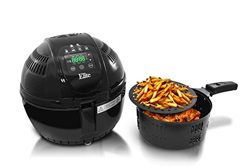 Elite Platinum EAF-2500D Two-Tiered Electric Digital Air Fryer 3.5 Quart 1400W Black Includes Recipe Book with 26 Colored Recipes