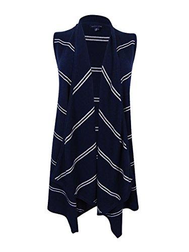 Tommy Hilfiger Women's Harper Draped Striped Vest (Navy/White, XS)