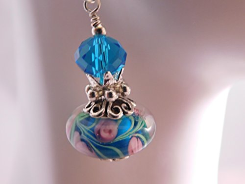 Murano Turquoise and Pink Floral Earrings * Artisan Glass Earrings * Lampwork Glass Drops * Glass Dangles * Murano Glass Earrings * ()