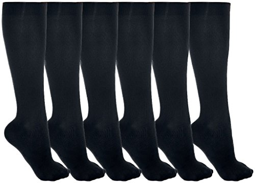 Women's Trouser Socks, 6 Pairs, Opaque Stretchy Nylon Knee High, Many Colors (6 Pairs Black)