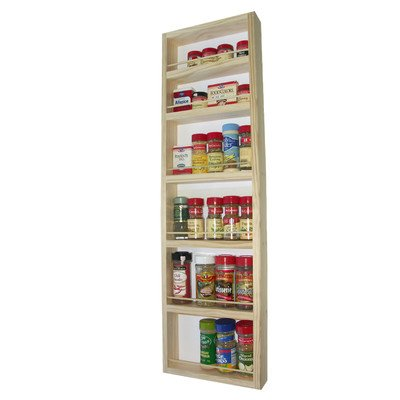(SR-336) Wall mount or surface mounted Kitchen Spice Rack holder, 37 1/4H x 11W x 2.5D, Solid Wood, accommodates multiple size bottles. Enamel finish or stain finish in your color choice, or unfinished also!