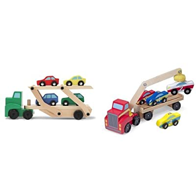 Melissa & Doug Car Carrier and Magnetic Car Loader: Toys & Games