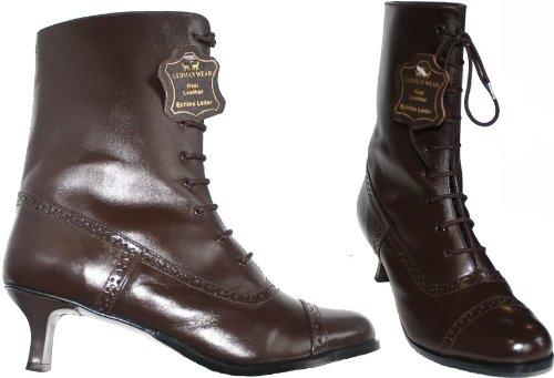 Damen Stiefel Trachtenstiefel budapester echtleder Trachten Schuhe für Dirndl & Lederhosen