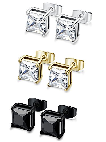FIBO+STEEL+3+Pairs+Stainless+Steel+Stud+Earrings+for+Men+Women+Cubic+Zirconia+Inlaid%2C4mm