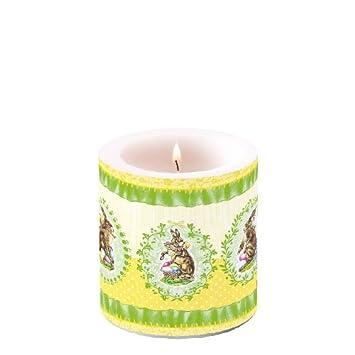 2x Dekorative Stumpenkerzen Nostalgic Easter 10x7 5cm Kerze
