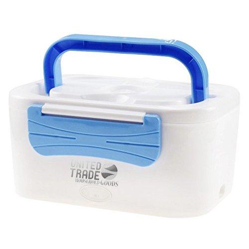 Lunch Box Portavivande 1, 25L Scaldavivande Estraibile 2 scomparti Elettrico Portatile 45W Bianco/Blu United Trade