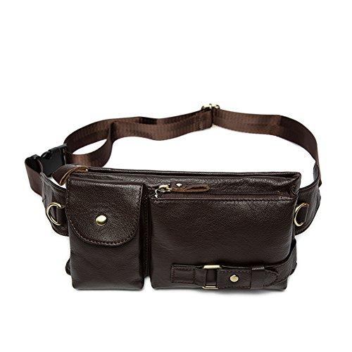 Modelshow Men's Genuine Leather Sports Crossbody Waist Bag Packs Chest Bag (coffee) by Modelshow
