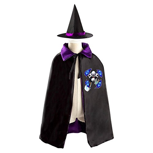Skull Mega Man Kids Halloween Party Costume Cloak Wizard Witch Cape With Hat - Kids Megaman Costume