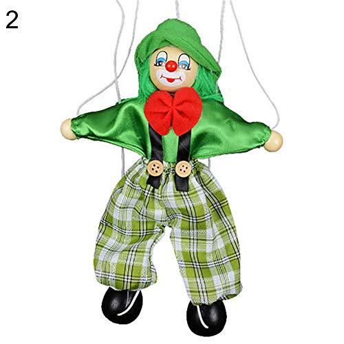 - XKSIKjian's Baby Toys Kids Pull String Clown Puppet Wooden Marionette Handcraft Joint Move Doll Newborn Brain Development Toys for Infants Toddler - Green