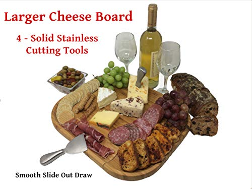 New Larger Bamboo Cheese and Charcuterie Board with 4- Solid Stainless Steel Cutlery tools | 100% MOSO Bamboo FDA Food Safe | Antibacterial | Great Gift Idea for Christmas - Tanksgiving Day
