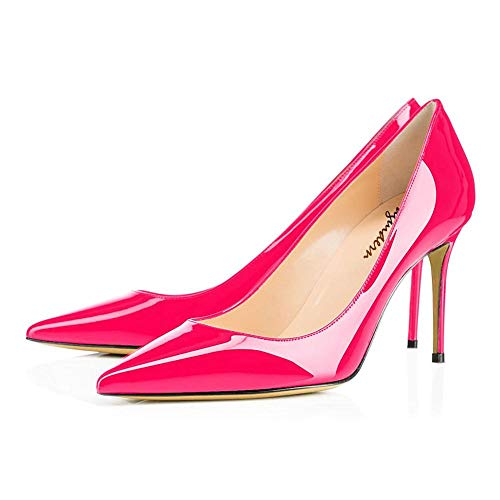 (Maguidern Women's Hot Pink Sexy Pointed Toe High Heels, 4 inches Heels Patent Leather Pumps,Wedding Dress Shoes,Cute Evening Stilettos - 7 M US)