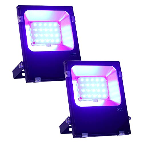 2 PCS 20W 395NM UV LED Black Lights for Parties with US Plug, Ultraviolet Blacklight LED Flood Light Reflector IP65 Waterproof for Curing, Glue, Halloween, Fishing, Aquarium