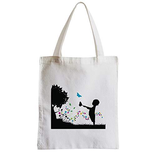 Grand Blanc Noir Sac Enfant Et Fleuri Dans Un Papillons Shopping Dessin Plage Etudiant Silhouette Pré qrqC6