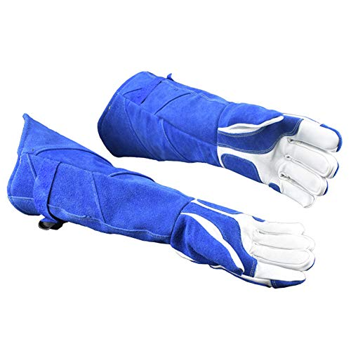 LAIABOR Welding Gloves Longer Extreme Heat fire Resistant with Kevlar Stitching Heavy Duty Welders Gauntlet Lined Fireplace Grill BBQ Animal handling Gardening Wood,BlueAsh by LAIABOR (Image #4)