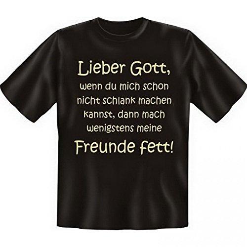 T-Shirt Mollig - Lieber Gott, mach mich schlank oder meine Freunde fett - Funshirt Set inkl. Minishirt als Geschenk Idee