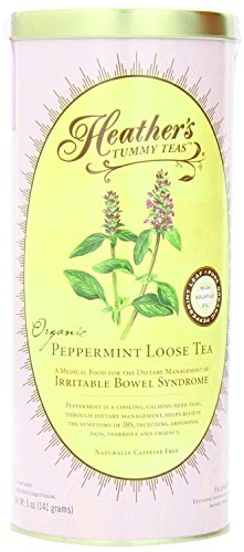Heather's Tummy Teas Organic Peppermint Tea for IBS, 5 Ounce Loose Tea Canister