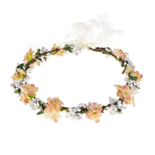 (Love Sweety Nature Flower Crown Fruit Headband Boho Garland Wedding Photo Prop (Coral))