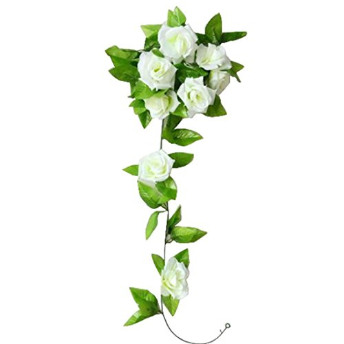 Elevin(TM) 1 PC Artificial Rose Flower Rattan Green Leaf Vine Garland for Home Wall Bookstore Office Table Christmas Bar Party Wedding Decoration (Whi…