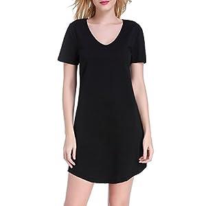 Chamllymers Women's Nightgown Cotton Nightwear Loose Short Sleeve Sleepwear XS to XXL